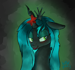 Size: 2305x2159 | Tagged: safe, artist:wevepon3, queen chrysalis, changeling, changeling queen, blushing, bow, cute, cutealis, female, lidded eyes, looking up, mare, princess, signature, smiling, solo
