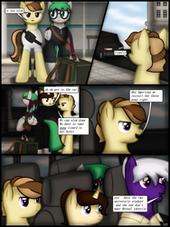 Size: 1750x2333 | Tagged: safe, artist:99999999000, oc, oc:firearm king, oc:li anna, oc:mar baolin, oc:zhang cathy, earth pony, pegasus, pony, unicorn, bag, car, clothes, comic, female, glasses, male, van