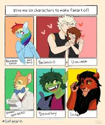 Size: 205x245 | Tagged: safe, artist:amweuvu, rainbow dash, anthro, human, pegasus, six fanarts, the last problem, anthro with ponies, bowtie, bust, clothes, crossover, eye scar, female, hat, katsuki bakugou, male, mare, my hero academia, ochako uraraka, open mouth, picture for breezies, scar, scar (the lion king), smiling, the cat returns