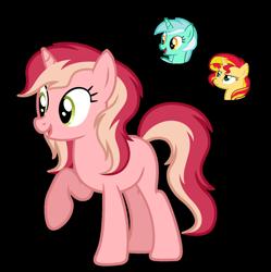 Size: 1280x1286 | Tagged: safe, artist:tenderrain46, lyra heartstrings, sunset shimmer, oc, pony, unicorn, female, magical lesbian spawn, mare, offspring, parent:lyra heartstrings, parent:sunset shimmer, simple background, transparent background