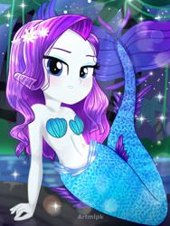 Size: 1800x2400 | Tagged: safe, artist:artmlpk, rarity, mermaid, equestria girls, adorable face, adorasexy, adorkable, alternate hairstyle, bare chest, bare shoulders, beautiful, blushing, cute, digital art, dork, female, flower, flower in hair, island, lidded eyes, looking at you, mermaidized, mermarity, ocean, palm tree, plant, raribetes, rock, seashell, seashell bra, sexy, sitting, sleeveless, smiling, smiling at you, solo, species swap, tail, tree, water, watermark, wet hair