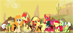 Size: 1551x702 | Tagged: safe, artist:three uncle, edit, apple bloom, applejack, big macintosh, bright mac, grand pear, granny smith, pear butter, winona, dog, earth pony, apple, bandana, bow, cactus, clothes, costume, cowboy, cowboy hat, desert, family, family photo, father and child, father and daughter, female, flower, flower in hair, food, gun, hair bow, handgun, hat, male, mother and child, mother and daughter, revolver, rifle, scenery, shotgun, smiling, smiling at you, weapon