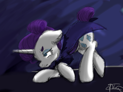 Size: 1200x900   Tagged: safe, alternate version, artist:minty joy, rarity, pony, unicorn, the cutie re-mark, alternate dimension, alternate timeline, dimension travel, night, night maid rarity, nightmare night, nightmare takeover timeline, painting, simple background, solo, time paradox, time travel