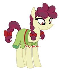 Size: 1600x1833 | Tagged: safe, artist:three uncle, hilly hooffield, earth pony, pony, the hooffields and mccolts, background pony, bow, clothes, female, hair bow, hooffield family, mare, pigtails, simple background, solo, transparent background, vector