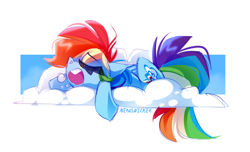 Size: 3400x2073 | Tagged: safe, artist:nekosnicker, rainbow dash, pegasus, pony, backwards cutie mark, bubble, cloud, eyes closed, female, high res, mare, on a cloud, open mouth, prone, sleeping, snoring, solo