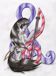 Size: 2190x2973   Tagged: safe, artist:40kponyguy, derpibooru exclusive, octavia melody, earth pony, bipedal, bowtie, cute, cutie mark, hoof hold, looking at you, one eye closed, redraw, simple background, solo, tavibetes, traditional art, treble clef, windswept mane, windswept tail