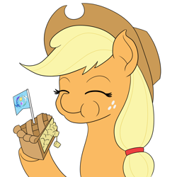 Size: 950x950 | Tagged: safe, artist:mkogwheel, applejack, earth pony, pony, apple, apple pie, eating, food, pie, simple background, solo, white background