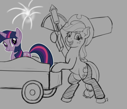 Size: 1400x1200 | Tagged: safe, artist:mkogwheel, applejack, twilight sparkle, earth pony, unicorn, applejack truck, cardboard twilight, chaps, crossbow, fireworks, hat, solo, top hat, unicorn twilight