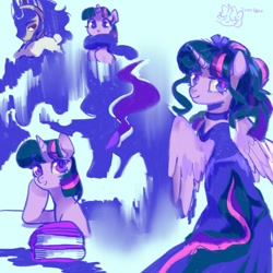 Size: 1024x1024 | Tagged: safe, artist:tingsan, king sombra, twilight sparkle, alicorn, unicorn, alternate hairstyle, book, clothes, crown, dress, female, h, jewelry, male, regalia, shipping, sketch, sketch dump, smiling, sombra eyes, spread wings, straight, twibra, twilight sparkle (alicorn), wings