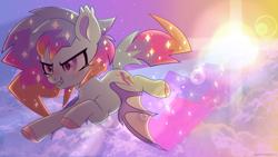 Size: 3840x2160   Tagged: safe, artist:hawthornss, oc, oc:angel aura, bat pony, artfight 2020, bat pony oc, bat wings, cute, cute little fangs, ear fluff, fangs, flying, wallpaper, wings