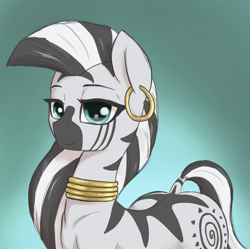 Size: 1910x1900 | Tagged: safe, artist:t72b, zecora, pony, zebra, alternate hairstyle, bust, female, long hair, looking at you, mare, portrait, simple background, solo