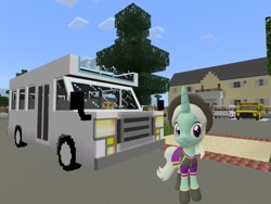 Size: 2048x1536 | Tagged: safe, artist:topsangtheman, cornetta, pony, unicorn, 3d, bus, clothes, hat, house, looking at you, minecraft, sfm pony, solo, source filmmaker, uniform