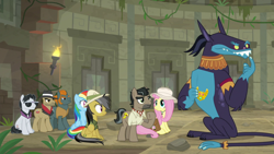 Size: 1920x1080 | Tagged: safe, screencap, ahuizotl, biff, daring do, doctor caballeron, fluttershy, rainbow dash, rogue (character), withers, daring doubt, henchmen