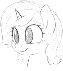 Size: 745x847 | Tagged: safe, artist:zippysqrl, oc, oc only, oc:sign, pony, unicorn, bust, female, freckles, grayscale, happy, monochrome, sketch, solo