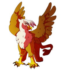 Size: 3000x3500 | Tagged: safe, artist:flyingeevee, gilda, griffon, female, frown, high res, simple background, solo, spread wings, transparent background, wings