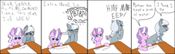 Size: 7000x2160 | Tagged: safe, artist:zhaozoharex, diamond tiara, silver spoon, earth pony, pony, blatant lies, calvin and hobbes, colored, comic, diamond tiara is not amused, duo, female, filly, flat colors, glasses, high res, jewelry, laughing, letter, missing cutie mark, mouth hold, mouth writing, necklace, pearl necklace, pencil, ponytail, simple background, white background