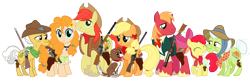 Size: 7377x2415 | Tagged: safe, artist:three uncle, edit, apple bloom, applejack, big macintosh, bright mac, grand pear, granny smith, pear butter, winona, dog, earth pony, apple, bandana, bow, cactus, clothes, costume, cowboy, cowboy hat, desert, family, family photo, father and child, father and daughter, father and son, female, flower, flower in hair, food, grandfather and grandchild, grandmother and grandchild, gun, hair bow, handgun, hat, male, mother and child, mother and daughter, mother and son, revolver, rifle, scenery, shotgun, smiling, smiling at you, weapon