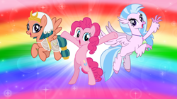 Size: 1280x719 | Tagged: safe, artist:andoanimalia, pinkie pie, silverstream, somnambula, earth pony, hippogriff, pegasus, pony, bipedal, flying, hooves in air, y pose