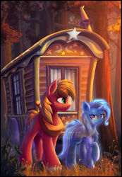 Size: 2100x3028 | Tagged: safe, artist:atlas-66, big macintosh, trixie, earth pony, ghost, pony, spider, undead, unicorn, fanfic:the empty room, fanfic art, female, forest, grass, male, mare, stallion, trixie's wagon, wood