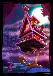Size: 2089x3000 | Tagged: safe, artist:harwick, pinkie pie, earth pony, pony, my little pony: pony life, pony life, baba yaga, chibi, female, gingerbread house, high res, reference, scene interpretation, solo