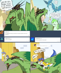 Size: 2562x3062 | Tagged: safe, artist:professor-ponyarity, oc, oc:merriweather, oc:nors, oc:rye, dragon, pony, unicorn, tumblr:ask rye dimar dragon, female, headphones, magic, mare, royal guard