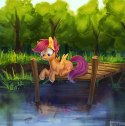 Size: 2000x2027 | Tagged: safe, artist:enderselyatdark, scootaloo, fish, pegasus, pony, cute, cutealoo, female, forest, grass, pier, scenery, sitting, solo, tree, water