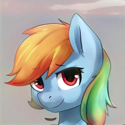 Size: 1024x1024   Tagged: safe, artist:thisponydoesnotexist, oc, oc only, earth pony, pony, artificial intelligence, cloud, female, mare, multicolored hair, neural network, not rainbow dash, rainbow hair, sky, solo