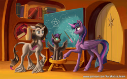 Size: 1920x1200 | Tagged: safe, artist:kirillk, oleander, twilight sparkle, oc, oc:nyx, alicorn, pony, unicorn, them's fightin' herds, book, bookshelf, chalkboard, twilight sparkle (alicorn), unshorn fetlocks