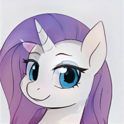 Size: 1024x1024 | Tagged: safe, artist:thisponydoesnotexist, oc, oc only, pony, unicorn, artificial intelligence, bedroom eyes, eyeshadow, female, gray background, makeup, mare, neural network, not rarity, simple background, solo