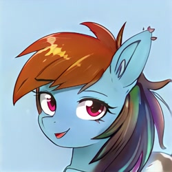 Size: 1024x1024   Tagged: safe, artist:thisponydoesnotexist, oc, oc only, earth pony, pony, artificial intelligence, blue background, ear piercing, earring, female, jewelry, mare, multicolored hair, neural network, not rainbow dash, open mouth, piercing, rainbow hair, simple background, solo