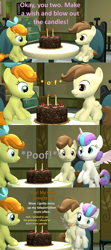 Size: 1920x4320 | Tagged: safe, artist:red4567, pound cake, princess flurry heart, pumpkin cake, 3d, birthday, cake, comic, cuteness overload, female, food, hug, implied pinkie pie, male, older, poundflurry, shipping, source filmmaker, straight, teleportation mishap, wholesome