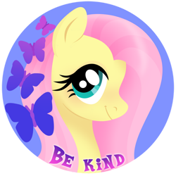 Size: 1024x1024 | Tagged: safe, artist:kabuvee, part of a set, fluttershy, butterfly, pony, be kind, bust, circle background, cute, female, kindness, looking at you, mare, portrait, shyabetes, simple background, smiling, solo, three quarter view, transparent background