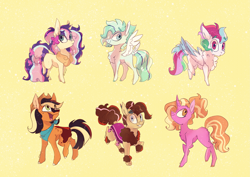 Size: 3077x2183 | Tagged: safe, artist:iheyyasyfox, luster dawn, oc, oc only, oc:classy skies, oc:derideri, oc:neapolitan, oc:roadie rodeo, oc:wildstyle, earth pony, hybrid, original species, pegasus, pony, unicorn, yakony, interspecies offspring, magical lesbian spawn, offspring, parent:applejack, parent:fluttershy, parent:pinkie pie, parent:prince rutherford, parent:princess celestia, parent:rainbow dash, parent:rarity, parent:thunderlane, parent:trouble shoes, parent:twilight sparkle, parents:dashlestia, parents:pinkieford, parents:rarilane, parents:troublejack, parents:twishy, simple background, yellow background