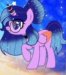 Size: 580x654 | Tagged: safe, artist:lacey.wonder, oc, oc only, alicorn, pony, alicorn oc, base used, choker, ethereal mane, glasses, grin, horn, horn ring, raised hoof, ring, smiling, solo, starry mane, two toned wings, wings