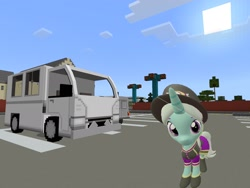 Size: 2048x1536 | Tagged: safe, artist:topsangtheman, cornetta, pony, unicorn, 3d, clothes, hat, looking at you, minecraft, photoshopped into minecraft, sfm pony, solo, source filmmaker, truck, uniform