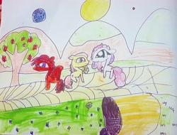 Size: 1080x821 | Tagged: safe, artist:bellas.den, apple bloom, scootaloo, sweetie belle, pegasus, pony, unicorn, apple, apple tree, cutie mark crusaders, mountain, outdoors, sun, traditional art, tree