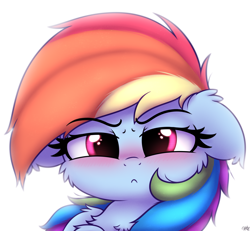 Size: 2600x2400 | Tagged: safe, artist:heavymetalbronyyeah, rainbow dash, pony, >:<, angry, blushing, cheek fluff, chest fluff, cute, daaaaaaaaaaaw, dashabetes, ear fluff, female, floppy ears, frown, looking at you, madorable, mare, rainbow dash is not amused, shoulder fluff, simple background, solo, tsunderainbow, tsundere, unamused, white background