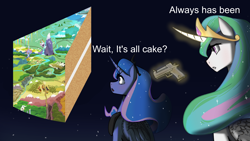 Size: 3840x2160 | Tagged: safe, artist:chopchopguy, editor:smithers888, princess celestia, princess luna, alicorn, pony, 1000 hours in imagemagick, cake, crossing the memes, equestria, everything is cake, food, gun, meme, ponified meme, space, text, wait it's all ohio, weapon