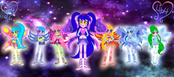 Size: 8069x3568 | Tagged: safe, artist:lumi-infinite64, artist:noreentheartist, oc, fairy, equestria girls, barefoot, barely eqg related, base used, belly button, clothes, crossed arms, crossover, crown, enchantix, fairies, fairies are magic, fairy wings, fairyized, feet, gloves, hand on arm, hands on hip, jewelry, long gloves, long hair, midriff, rainbow s.r.l, regalia, wings, winx, winx club, winxified