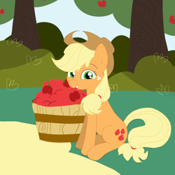 Size: 4000x4000 | Tagged: safe, artist:knight lite, applejack, earth pony, pony, apple, barrel, food, looking at you, smiling, smiling at you, solo, sweet apple acres
