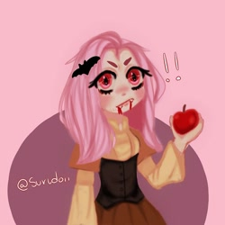 Size: 1080x1080 | Tagged: safe, artist:surudoii, fluttershy, human, apple, bat ponified, blood, caught, clothes, exclamation point, fangs, female, flutterbat, food, humanized, makeup, race swap, signature, solo, wide eyes