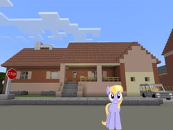 Size: 2048x1536 | Tagged: safe, artist:bluemeganium, artist:topsangtheman, cloud kicker, pegasus, pony, car, house, looking at you, minecraft, photoshopped into minecraft, solo, stop sign