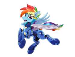 Size: 4096x3112   Tagged: safe, artist:nekokevin, rainbow dash, pegasus, pony, the cutie re-mark, alternate hairstyle, alternate timeline, amputee, apocalypse dash, armor, artificial wings, augmented, crystal war timeline, eye scar, female, high res, mare, open mouth, prosthetic limb, prosthetic wing, prosthetics, scar, simple background, solo, torn ear, transparent background, wings