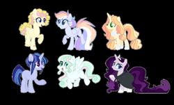 Size: 1024x620 | Tagged: safe, artist:yourrdazzle, oc, oc only, pegasus, pony, unicorn, female, magical lesbian spawn, mare, offspring, parent:derpy hooves, parent:fluttershy, parent:king sombra, parent:night glider, parent:pinkie pie, parent:rainbow dash, parent:rarity, parent:stygian, parent:twilight sparkle, parent:vapor trail, parents:applelestia, parents:derpypie, parents:sombrarity, parents:twigian, parents:vaporshy, simple background, transparent background