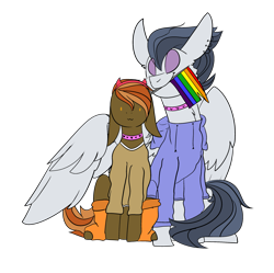 Size: 2795x2788 | Tagged: safe, artist:bublebee123, artist:icey-wicey-1517, color edit, edit, button mash, rumble, earth pony, pegasus, pony, :3, choker, clothes, collaboration, colored, ear piercing, earring, gay, gay pride flag, headband, hoodie, hug, jewelry, male, mouth hold, older, older button mash, older rumble, piercing, pride, pride flag, rumblemash, shipping, shirt, simple background, sitting, socks, stallion, transparent background, winghug