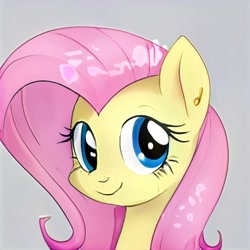 Size: 1024x1024 | Tagged: safe, artist:thisponydoesnotexist, oc, oc only, earth pony, pony, artificial intelligence, ear piercing, earring, female, gray background, jewelry, mare, neural network, not fluttershy, piercing, simple background, smiling, solo