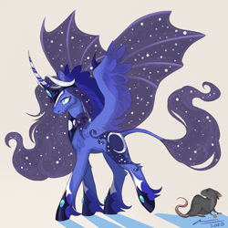 Size: 2000x2000 | Tagged: safe, artist:creeate97, princess luna, alicorn, pony, alternate design, bat wings, curved horn, horn, hybrid wings, leonine tail, solo, wings