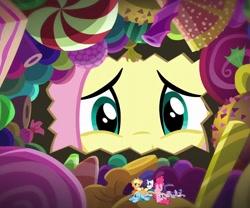 Size: 815x678 | Tagged: safe, artist:hereward, derpibooru exclusive, edit, edited screencap, screencap, vector edit, applejack, fluttershy, pinkie pie, rainbow dash, rarity, twilight sparkle, pony, scare master, flutterpred, imminent vore, mane six, micro, shrunk, tiny, tiny ponies, vector