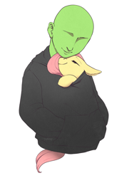 Size: 2861x3668 | Tagged: safe, artist:taytinabelle, derpibooru exclusive, fluttershy, oc, oc:anon, human, pegasus, pony, clothes, cuddling, cute, duo, ear fluff, eyes closed, female, hoodie, jacket, male, shared clothing, shyabetes, simple background, smiling, snuggling, unshorn fetlocks, white background