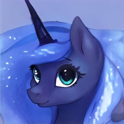 Size: 1024x1024   Tagged: safe, artist:thisponydoesnotexist, oc, oc only, pony, unicorn, artificial intelligence, blue background, ethereal mane, female, mare, neural network, not luna, simple background, solo, starry mane